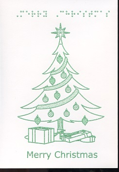 Braille and Tactile Greeting Card Merry Christmas – Gifts With Tree In Green Ink