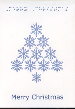Braille and Tactile Greeting Card Snowflake Tree