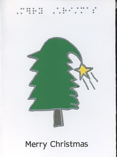 Braille and Tactile Greeting Card Merry Christmas – Tree Overloaded with Snow