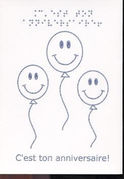 Carte de Vœux en Braille et Tactile C'est Ta Fête – Ballons et Chapeau