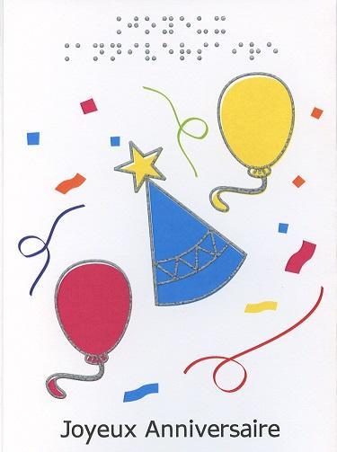 Carte de Vœux en Braille et Tactile Joyeux Anniversaire – Chapeau