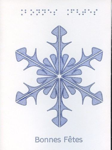 Carte de Vœux en Braille et Tactile Joyeuses Fêtes – Flocon de Neige
