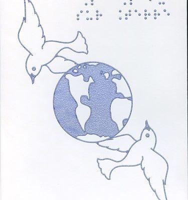 Carte de Vœux en Braille et Tactile La Paix Sur Terre – Coulombes et Monde