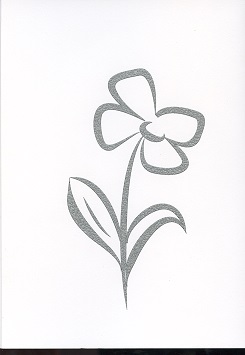 Tactile Greeting CardStylised Pansies Black