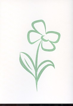 Tactile Greeting CardStylised Pansies Green
