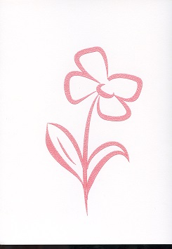 Tactile Greeting CardStylised Pansies Red
