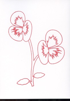 Tactile Greeting CardPansies Red