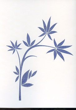 Tactile Greeting CardBamboo Leaves Stylized 1 Blue