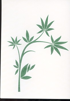 Tactile Greeting CardBamboo Leaves Stylized 1 Green